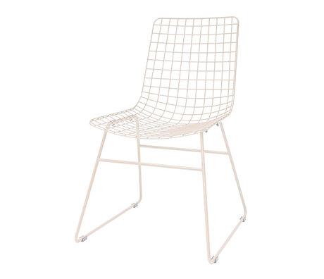 HK-living Chaise de salle à manger Wire métal nude rose 47x54x86cm