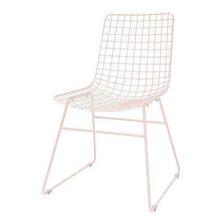 HK-living Chaise de salle à manger Fil métallique rose pêche 47x54x86cm