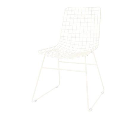HK-living Chaise de salle à manger Fil métallique blanc 47x54x86cm