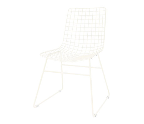 HK-living Dining chair Wire cream white metal 47x54x86cm