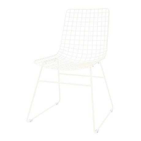 HK-living Esszimmerstuhl Draht cremeweiß Metall 47x54x86cm