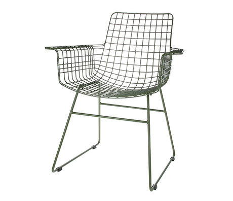 HK-living chaise de fil avec accoudoirs acier armée fil vert 72x56x86cm