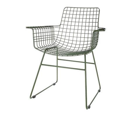HK-living Chaise fil avec accoudoir fil armée vert acier 72x56x86cm
