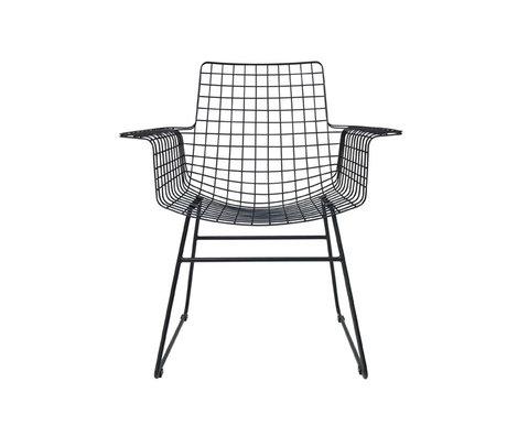 HK-living Wire Chair avec accoudoirs de 72x56x86cm en métal noir