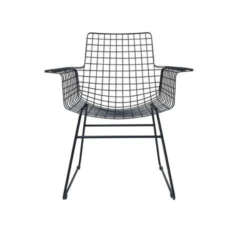 HK-living Drahtstuhl mit Armlehnen schwarzen Metall 72x56x86cm