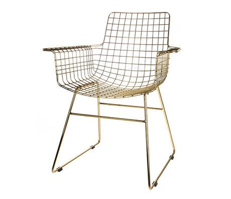 HK-living chaise de fil avec accoudoirs acier fil laiton 72x56x86cm