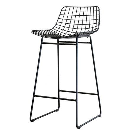 HK-living Barstool black steel wire 42x47x89cm