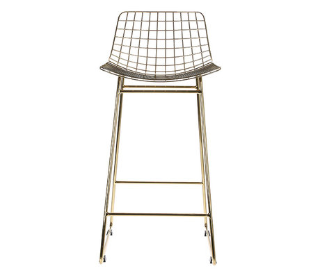 HK-living Barstool wire yellow copper brass wire steel 47x47x89cm