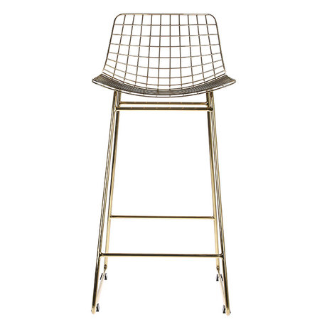 HK-living Laiton fil d'acier Barstool de fil de laiton 47x47x89cm