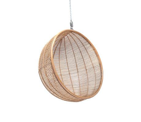 HK-living Fauteuil suspendu boule rotin brun naturel Ø108x83cm