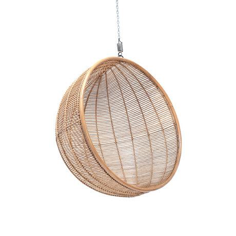 HK-living Hanging chair ball natural brown rattan Ø108x83cm