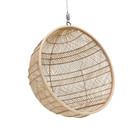 HK-living Hanging chair Bohemian ball natural brown rattan 108x108x83cm