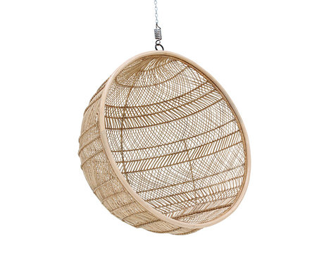 HK-living Hanging chair Bohemian ball natural brown rattan 108x108x83cm