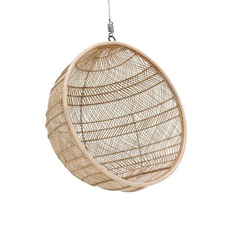 HK-living Hängender Stuhl Böhmischer Ball aus natürlichem braunem Rattan 108x108x83cm