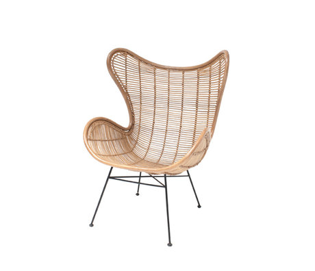 HK-living Chair Egg rattan wood light natural 83x70x110cm