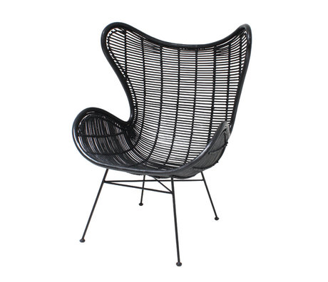 HK-living Chair black rattan Egg chair 83x70x110cm