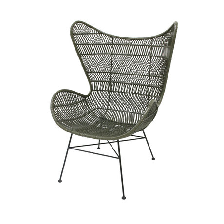 HK-living Chair Bohemian olive green rattan Egg chair 74x82x110cm