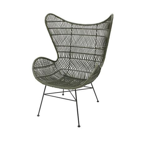 HK-living Stoel Bohemian olijf groen rotan Egg chair 74x82x110cm