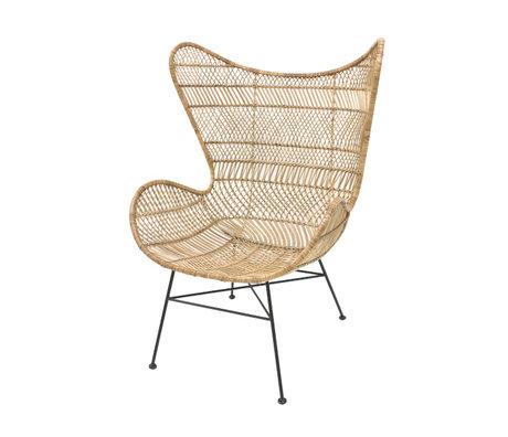 HK-living Stuhl Böhmischer natürlicher brauner Rattan Eierstuhl 74x82x110cm