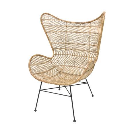 HK-living Chair Bohemian natural brown rattan Egg chair 74x82x110cm