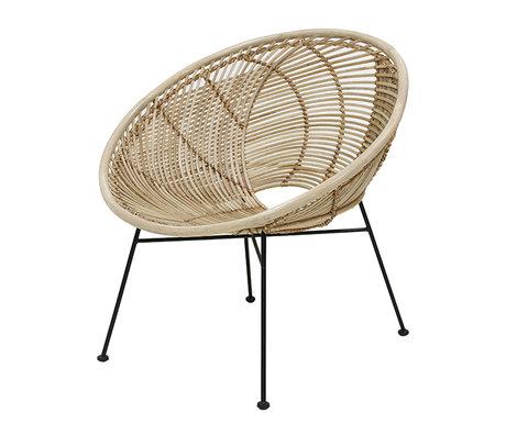 HK-living Stuhl Lounge natürlichen braunen Rattan 72x79x80cm
