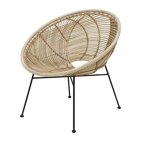 HK-living Stoel lounge naturel bruin rotan 72x79x80cm