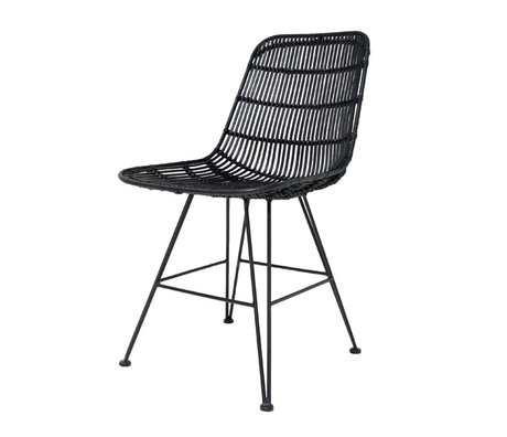 HK-living Chaise de salle à manger en métal noir / rotin 80x44x57cm, chaise en rotin