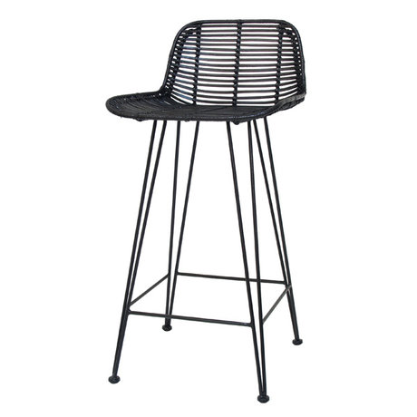 HK-living Tabouret de bar en rotin noir naturel 47x42x89cm chaise de bar en rotin