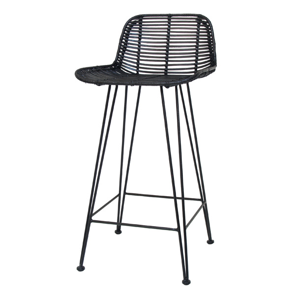 Beste HK-living Barkruk naturel zwart rotan 47x42x89cm rotan bar stoel FV-86