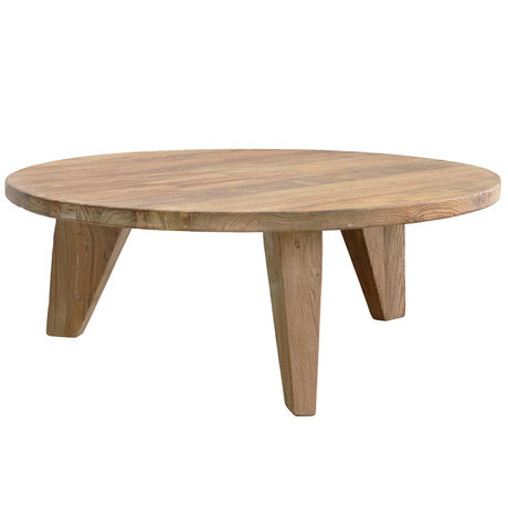 HK-living Brown coffee table teak wood Ø80x33cm, Coffee reclaimed teak