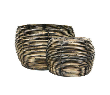 HK-living Basket brown rattan set of 2