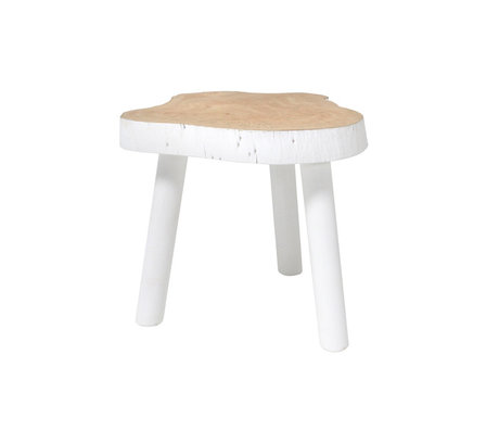 HK-living Occasional table tree white wood 33x33x31cm