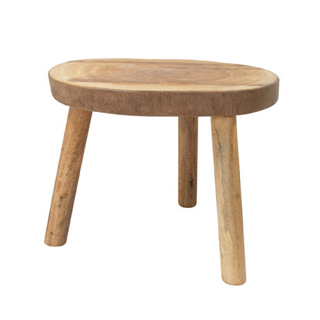 HK-living Occasional table brown wood approximately 65x65x46cm