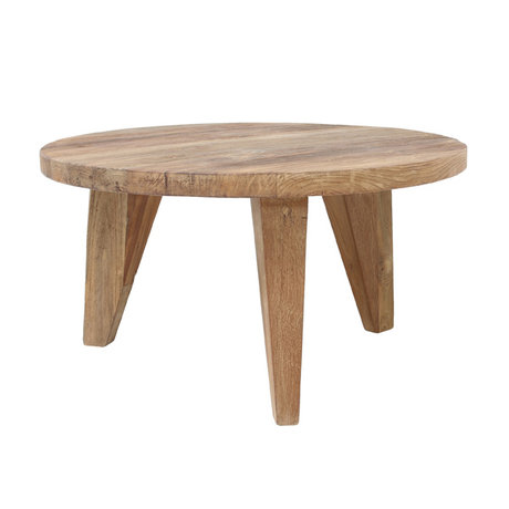 HK-living Coffee table round brown teak wood 65x65x35,5cm