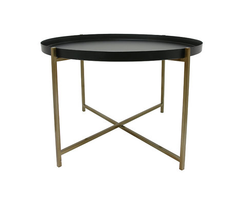 HK-living Side table L yellow copper black brass 63x63x40cm
