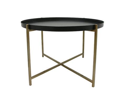 HK-living Table d'appoint L laiton 63x63x40cm noir en laiton
