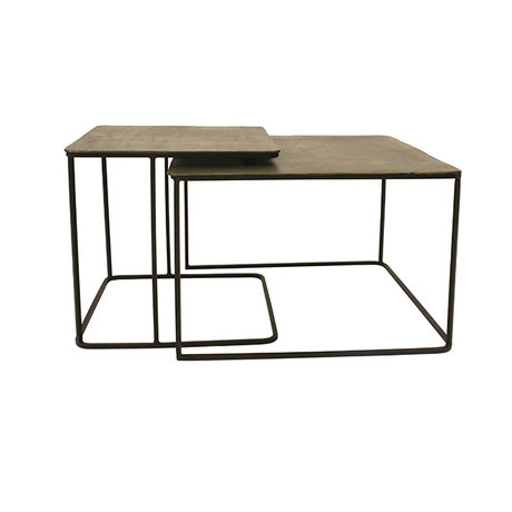 HK-living Table basse en laiton noir laiton fer ensemble de 2