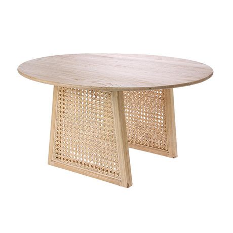 HK-living Table basse Sangles en rotin brun naturel M Ø65x35cm