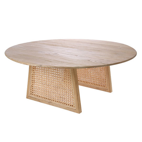 HK-living Table basse en sangle rotin brun naturel L Ø80x30cm