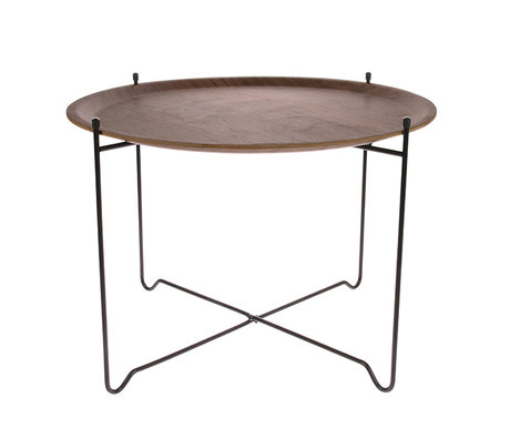 HK-living Table d'appoint noyer marron noir bois métal L Ø60x42cm