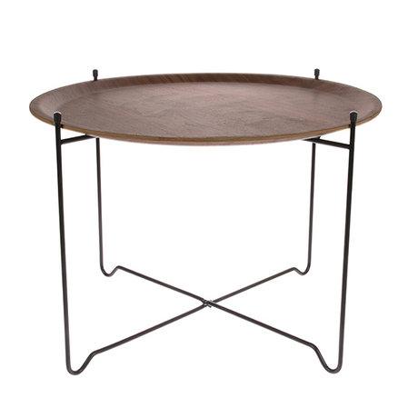 HK-living Side table walnut brown black wood metal L Ø60x42cm