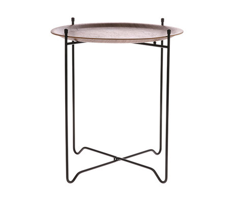 HK-living Table d'appoint noyer marron noir bois métal M Ø43,5x49,5cm