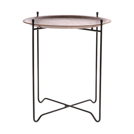 HK-living Side table walnut brown black wood metal M Ø43.5x49.5cm