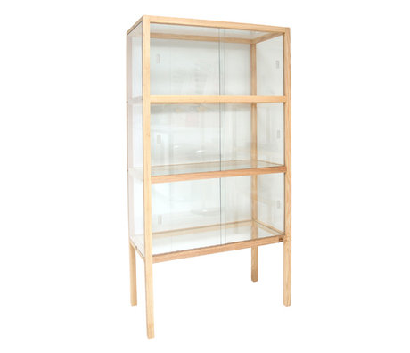 HK-living Showcase verre / bois 75x36x148cm