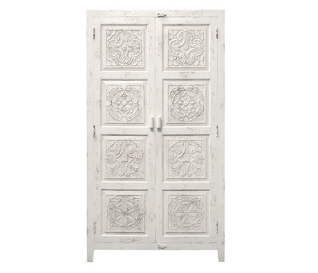 HK-living Cabinet of carved wood white 105x40x180cm