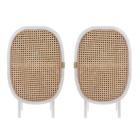 HK-living Table de nuit sangle blanc brun bois set de 2 38x33x62cm
