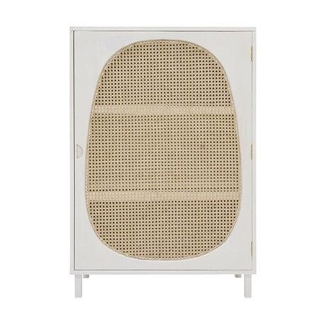 HK-living Kabinettschrank Webbing weißes Holz 85x35x122cm