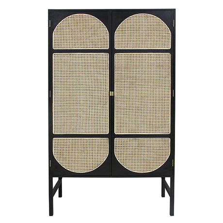 HK-living Cabinet Retro Webbing black wood cane 125x40x200cm