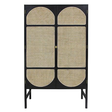 HK-living Kabinetkast Retro Webbing zwart hout riet 125x40x200cm
