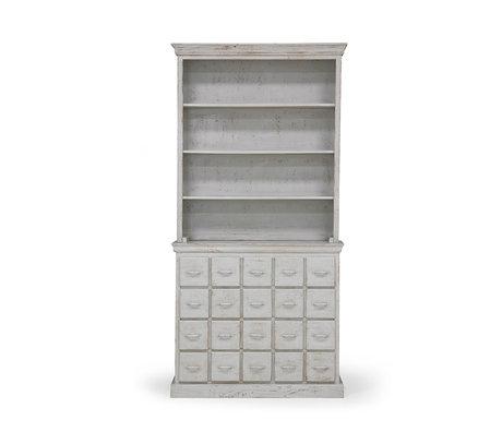 HK-living Armoire à tiroirs vintage gris bois 113x40x230cm